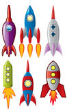 Space retro rocket ships Stock Image