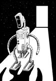 Space Robot. Black and white illustration of robot walking through imaginary space portal Stock Image