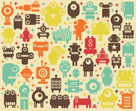 Space robots colorful background. Vector illustration Vector Illustration