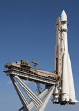 Space rocket. At launch pad Stock Photos