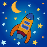 Space Rocket. Star background with moon, stars and space rocket stock illustration