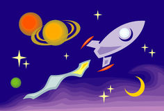 Space rocket. Funny cartoon style vector illustration - space trip Stock Photo