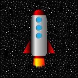 Space rocket on a background of stars Stock Photo