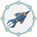 Space rocket with a blue frame Royalty Free Stock Image
