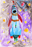 Space rocket. children's drawing. Stock Photos