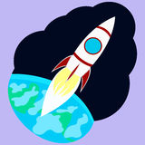 Space rocket. Rocket in a cloud of smoke and fire is sent into space Stock Photography