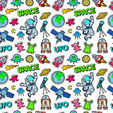 Space Rocket Cosmonaut Planets and UFO Aliens Seamless Pattern Stock Photos