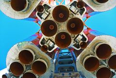 Space rocket engines of Cosmic hi tech background. Space rocket engines of the russian spacecraft over blue sky. Cosmic hi tech background Royalty Free Stock Photography