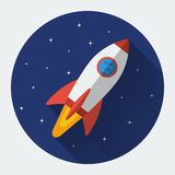 Space rocket flat icon. With long shadow. Colored vector illustration Stock Images