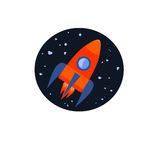 Space rocket. Flying in the sky. Business start up concept. Vector illustration Stock Photo
