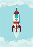 Space rocket flying in sky Royalty Free Stock Photos