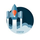 Space rocket flying in sky, startup Royalty Free Stock Photos