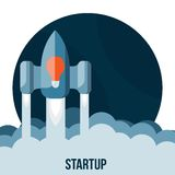 Space rocket flying in sky, startup Stock Photo