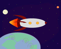 Space rocket flying in space Royalty Free Stock Photos