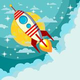 Space rocket flying in space Royalty Free Stock Images