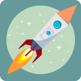 Space rocket flying in space with moon and stars Stock Images