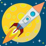Space rocket flying in space Stock Image