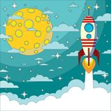 Space rocket flying in space with moon Royalty Free Stock Photos