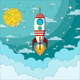 Space rocket flying in space Royalty Free Stock Photo