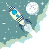 Space rocket flying in space with moon and stars Royalty Free Stock Photography