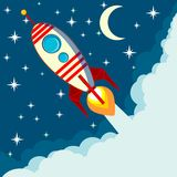 Space rocket flying in space with moon and stars Royalty Free Stock Photo