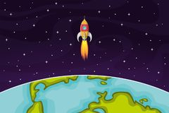 Space rocket flying in space out of the Earth Stock Photography