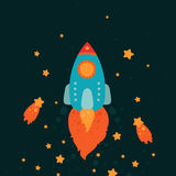 Space rocket flying with stars and comets Stock Photo