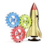 Space rocket and gears Stock Photo