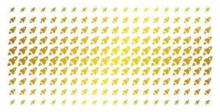 Space Rocket Gold Halftone Grid. Space rocket icon gold colored halftone pattern. Vector space rocket objects are arranged into halftone array with inclined Stock Photo