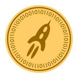 Space Rocket golden digital coin icon. Vector style. gold yellow flat coin cryptocurrency symbol. isolated on white. Eps 10 Stock Photos