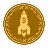 Space Rocket golden digital coin icon. Vector style. gold yellow flat coin cryptocurrency symbol. isolated on white. Eps 10 Stock Photography