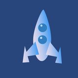 Space rocket icon. Space cartoon rocket icon on a neutral background royalty free illustration