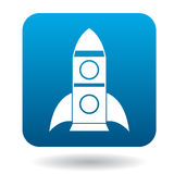 Space rocket icon in flat style. On a white background Stock Photography
