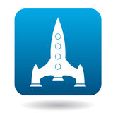 Space rocket icon in flat style. On a white background Stock Photos