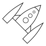 Space rocket icon, outline style Stock Images