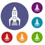 Space rocket icons set Stock Photo