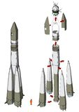 Space Rocket infographics. Hi-detailed space rocket with first spaceship Available EPS-10 vector format separated by groups for easy edit Royalty Free Stock Image
