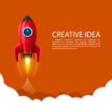 Space rocket launch. Art creative. Vector illustration Royalty Free Stock Photo