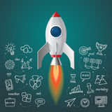 Space rocket launch. Business project start up concept. Soaring spaceship with the set of doodle icons of marketing strategy, launching new innovation product stock illustration