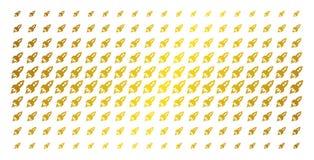Space Rocket Launch Gold Halftone Matrix. Space rocket launch icon gold colored halftone pattern. Vector space rocket launch items are arranged into halftone Stock Image