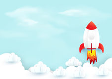 Space rocket launch over sky clouds. Start up concept. vector illustration