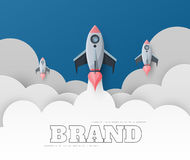 Space rocket launch. Start up concept flat style. vector illustr. Ation Stock Photo