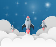 Space rocket launch. Start up concept flat style. vector illustr. Ation Royalty Free Stock Image