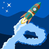 Space rocket launch. Start up concept flat style. Vector illustr. Ation. Can be used for presentation, web page, booklet Royalty Free Stock Photo