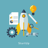 Space rocket launch. Start up concept flat style. Vector. Illustration Royalty Free Stock Image