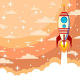 Space rocket launch. Start up concept flat style. Vector illustration. Can be used for presentation, web page, booklet, etc Stock Photography