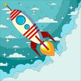 Space rocket launch. Start up concept flat style. Vector illustration. Can be used for presentation, web page, booklet, etc Royalty Free Stock Photography