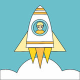 Space Rocket Launch Vector Concept in Flat Design. Royalty Free Stock Image