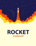 Space rocket launch. Vector illustration Royalty Free Stock Photo