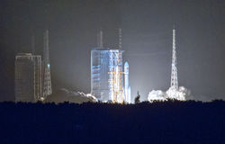 Space rocket launching. This is China`s new space rocket launching site located in Hainan China, beside the sea Royalty Free Stock Photo